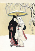 Couple under Umbrella in Snow
