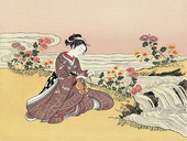 A Girl Collecting Chrysanthemum Dew by the Stream