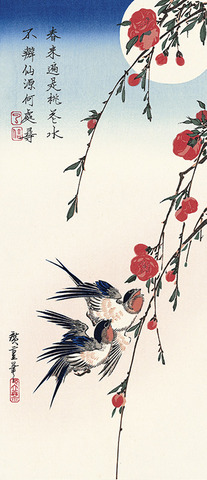 Peach Blossoms and Swallows in Moonlight