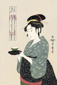 Okita of Naniwaya Serving a Cup of Tea