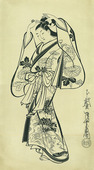 Standing Courtesan in Kimono with Chrysanthemum Design
