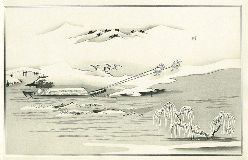 "Kitagawa Utamaro""Towing a Boat in Snow,  Illustration from the Kyoka Album ""Ginsekai""(Silver World)"" Available for a limited time Unframed 13,000yen"