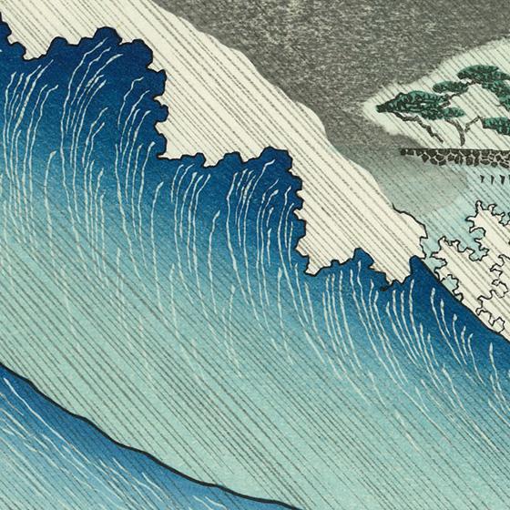 大波が崩れ落ちるところにボカシを摺り込み、北斎や広重でない岳亭独自の世界です。