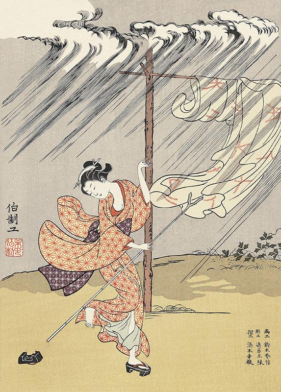 鈴木春信「夕立」