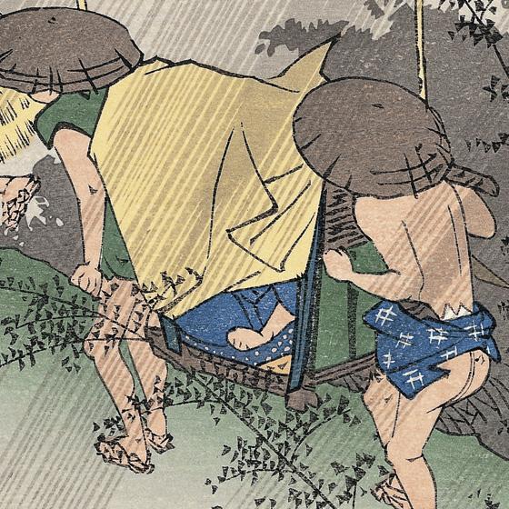 駕籠の雨よけの覆いも強風に煽られて捲れそうです。 駕籠の雨よけの覆いも強風に煽られて捲れそうです