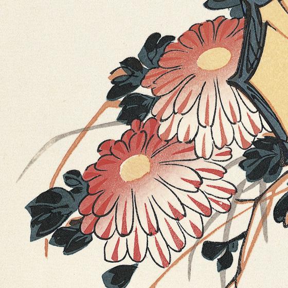 歌川広重 菊に雉子