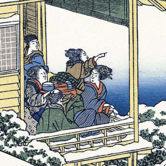 二階で雪見を楽しみ、富士の見える方を指さし、話をしている人がいます。
