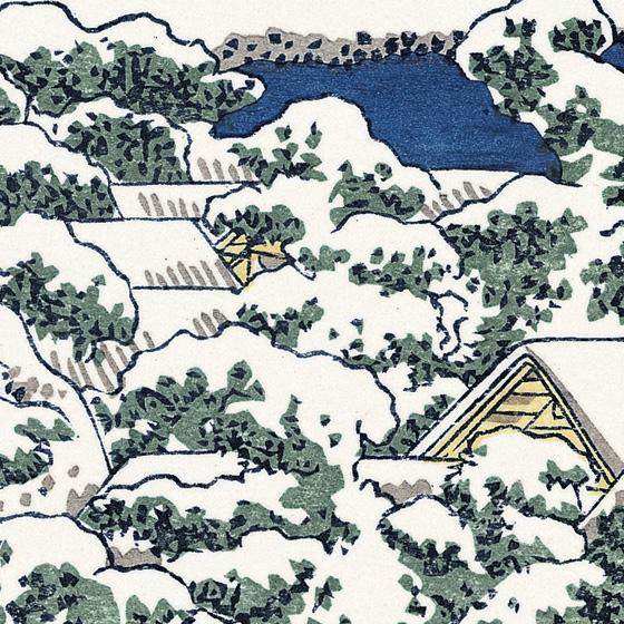 木々の上に雪が降り積もった様子は、和紙の肌を活かして見せています。