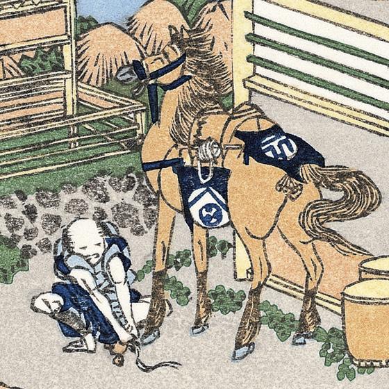摘んだお茶を運ぶ馬でしょうか。何気ない日常の風景が江戸の生活を教えてくれ... 摘んだお茶を運ぶ