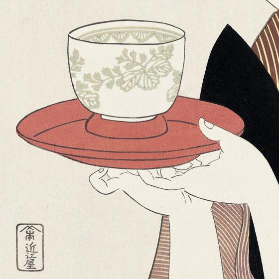 茶托にのせて運んでいる茶碗には、難波屋の桐の紋が入っています。 茶托にのせて運んでいる茶碗には、